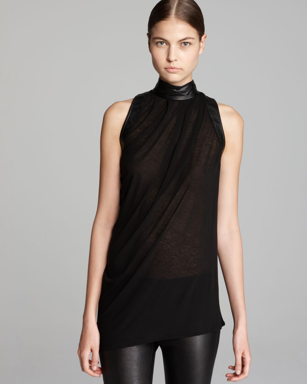 e097f57ed79f Lyst - Helmut Lang Top Schema Jersey Sleeveless Turtleneck in Black