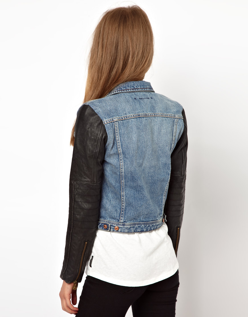 Asos Maison Scotch Denim Jacket With Leather Sleeves In -5517