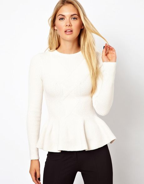 Ted Baker Cable Knit Jumper With Peplum Hem In White