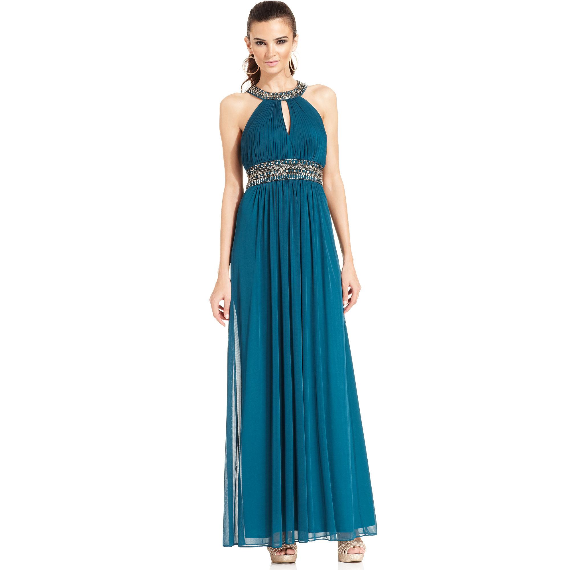Xscape Xscape Dress Sleeveless Jeweltrim Pleated Halter ...