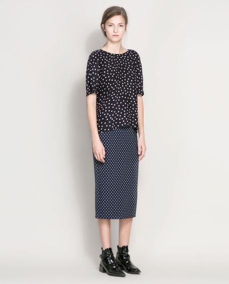 Zara Navy Blue Dress With Pencil Skirt 7