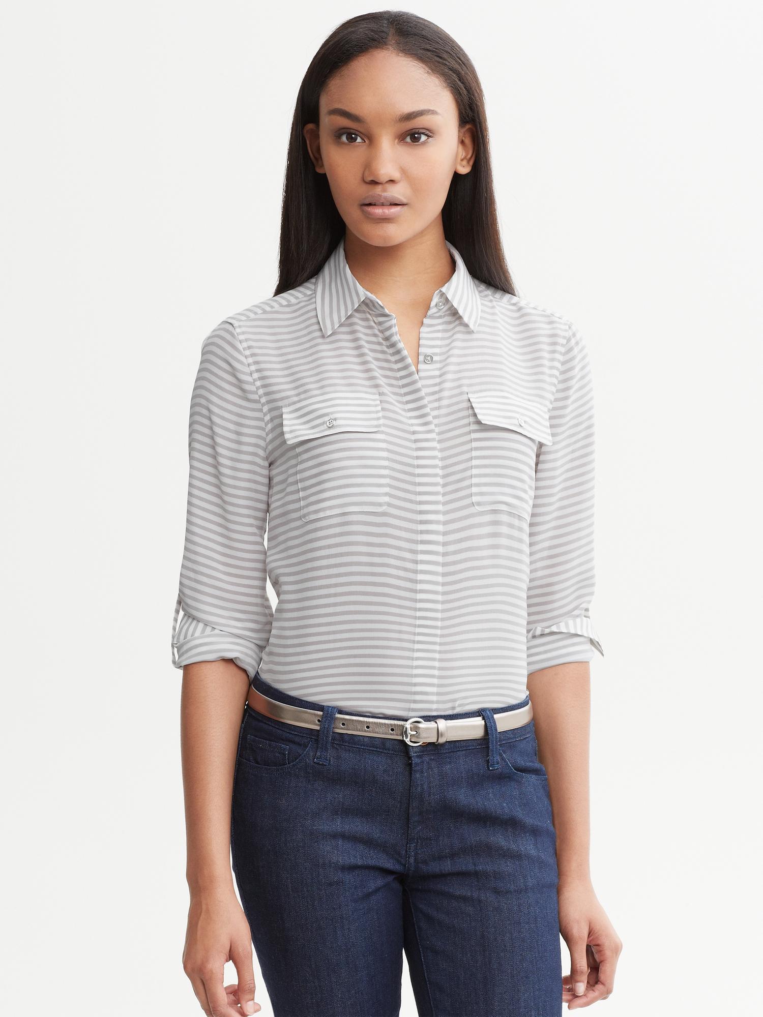 72871ab44b983 Lyst - Banana Republic Striped Silk Utility Shirt in White