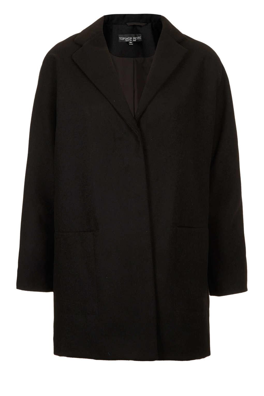 Topshop Petite Popper Front Boyfriend Coat in Black | Lyst