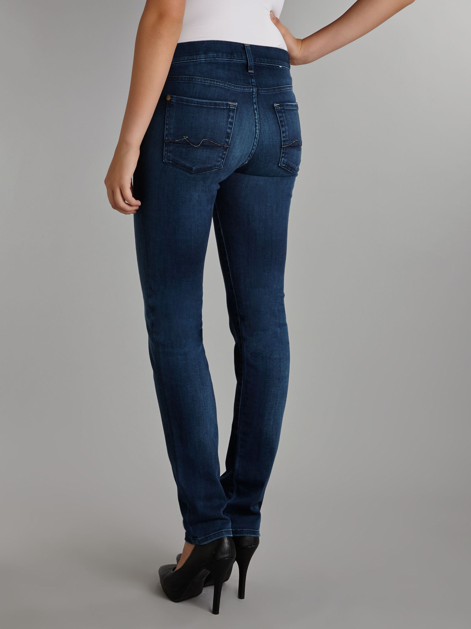 7 for all mankind Rozie Highrise Slim Jeans in Deep Sky Fall in ...