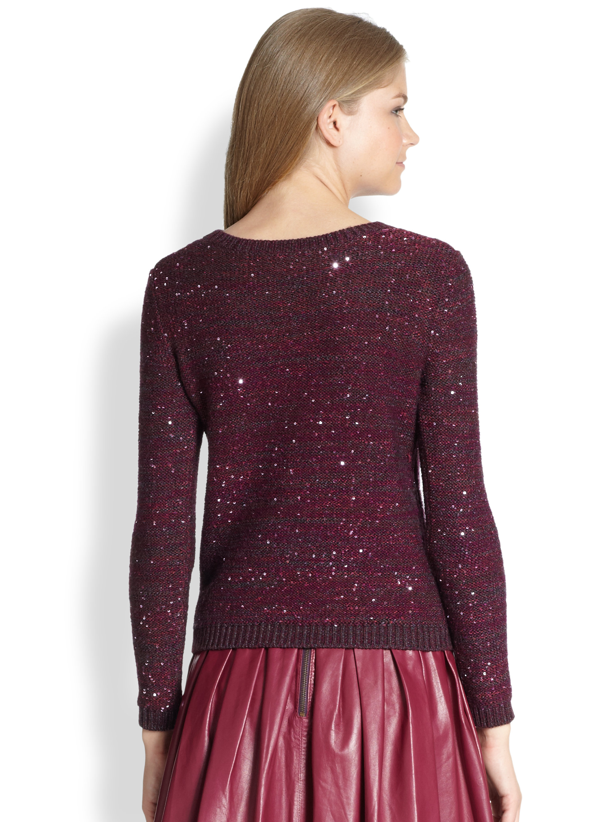 Alice   olivia Macy Marled Sequin Sweater in Purple | Lyst