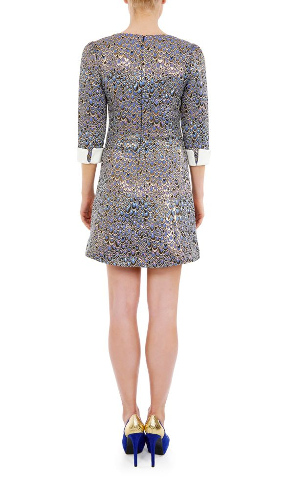 Almost Famous Metallic Feather Print Dress in Blue