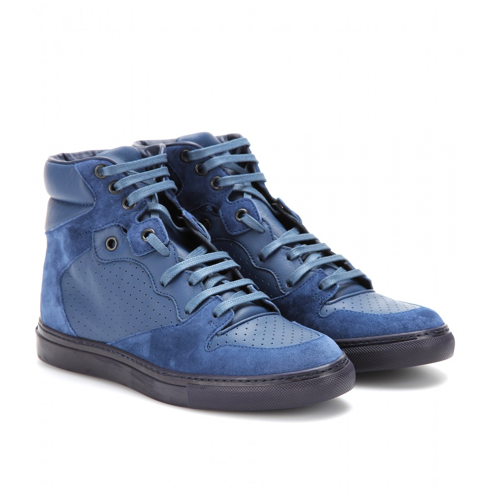 balenciaga leather and suede hightop sneakers in blue lyst. Black Bedroom Furniture Sets. Home Design Ideas