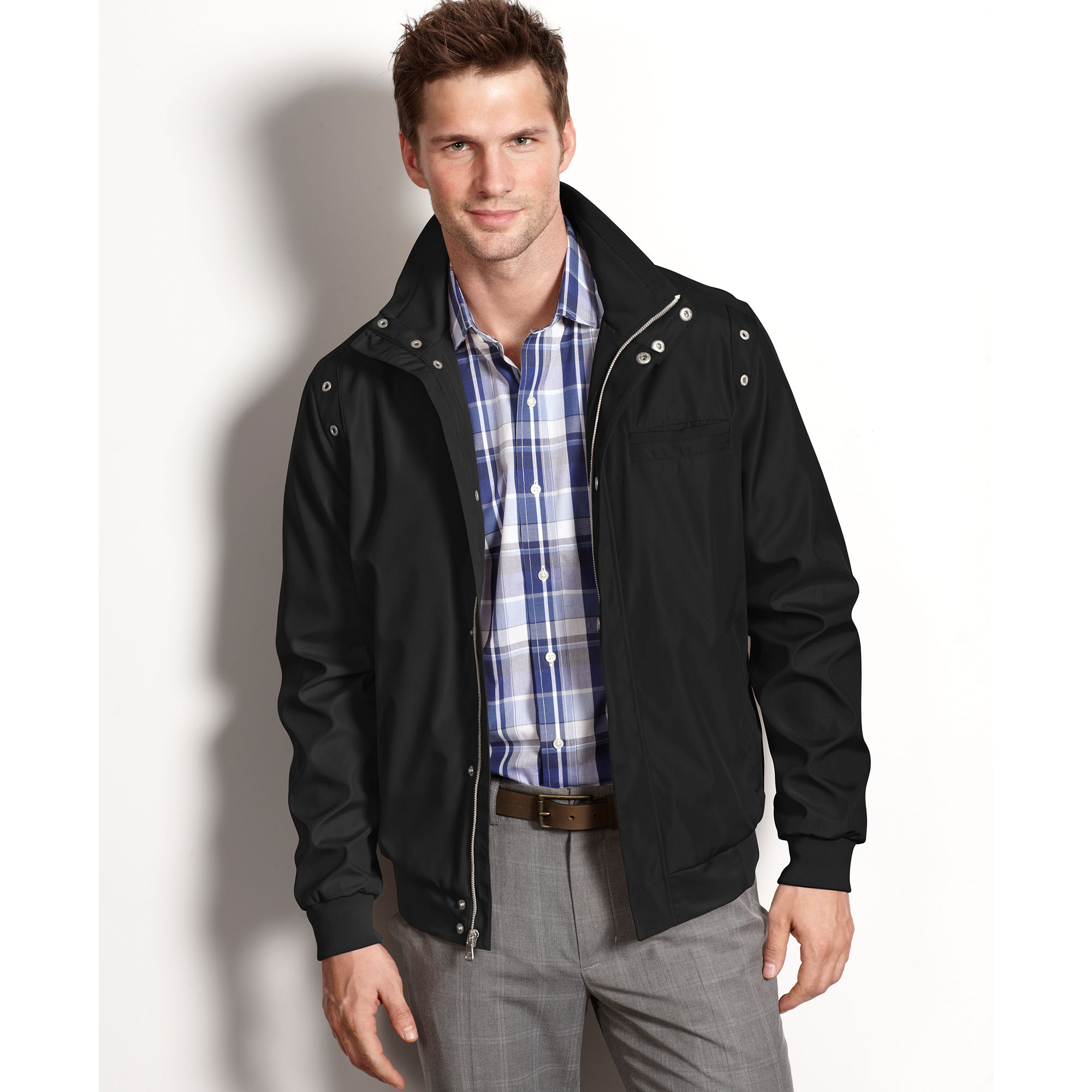 Calvin klein Lightweight Water Resistant Bomber Jacket in Black ...
