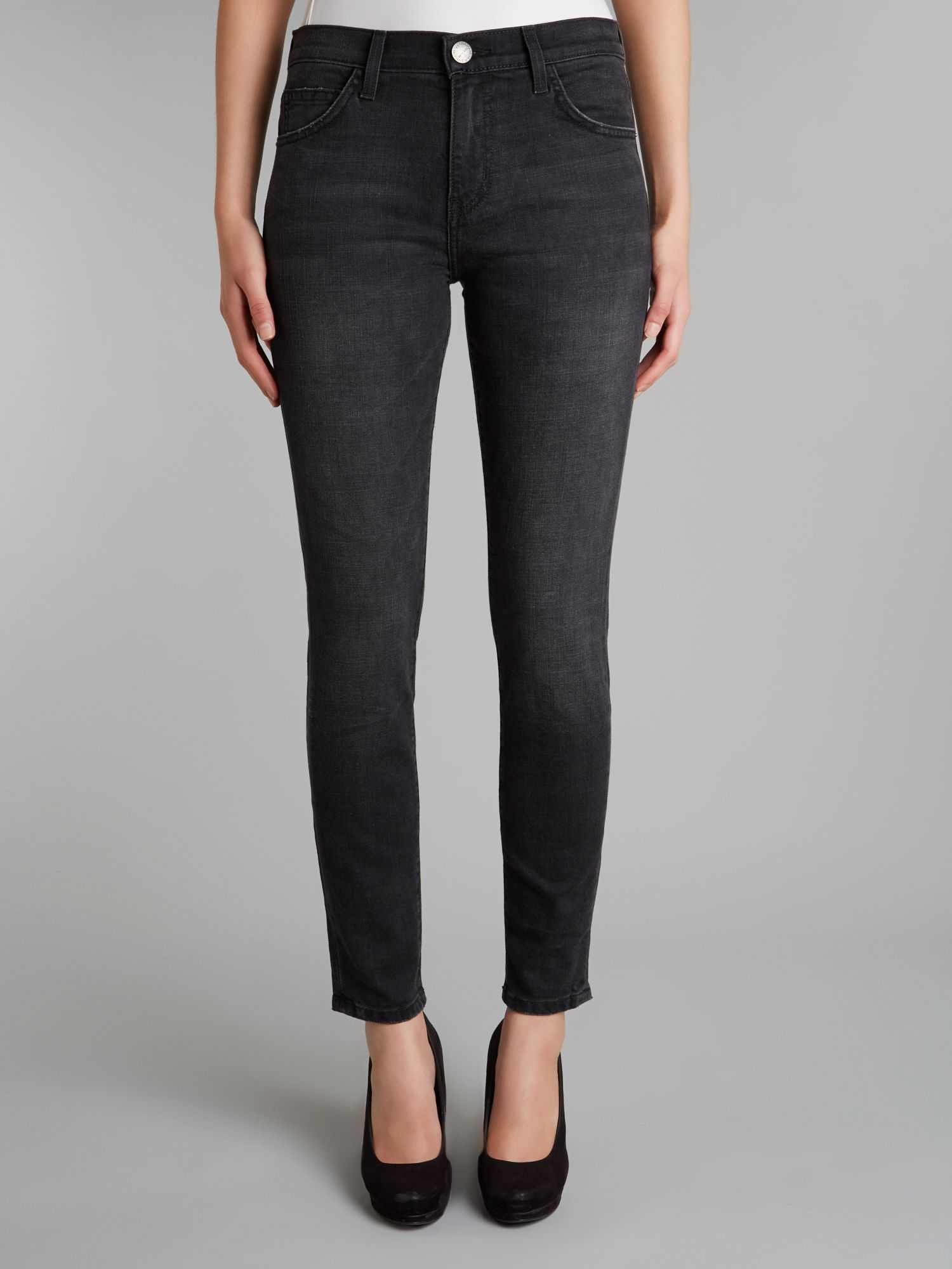 Current/Elliott Denim High Waist Ankle Skinny Jeans In Townhouse in Black