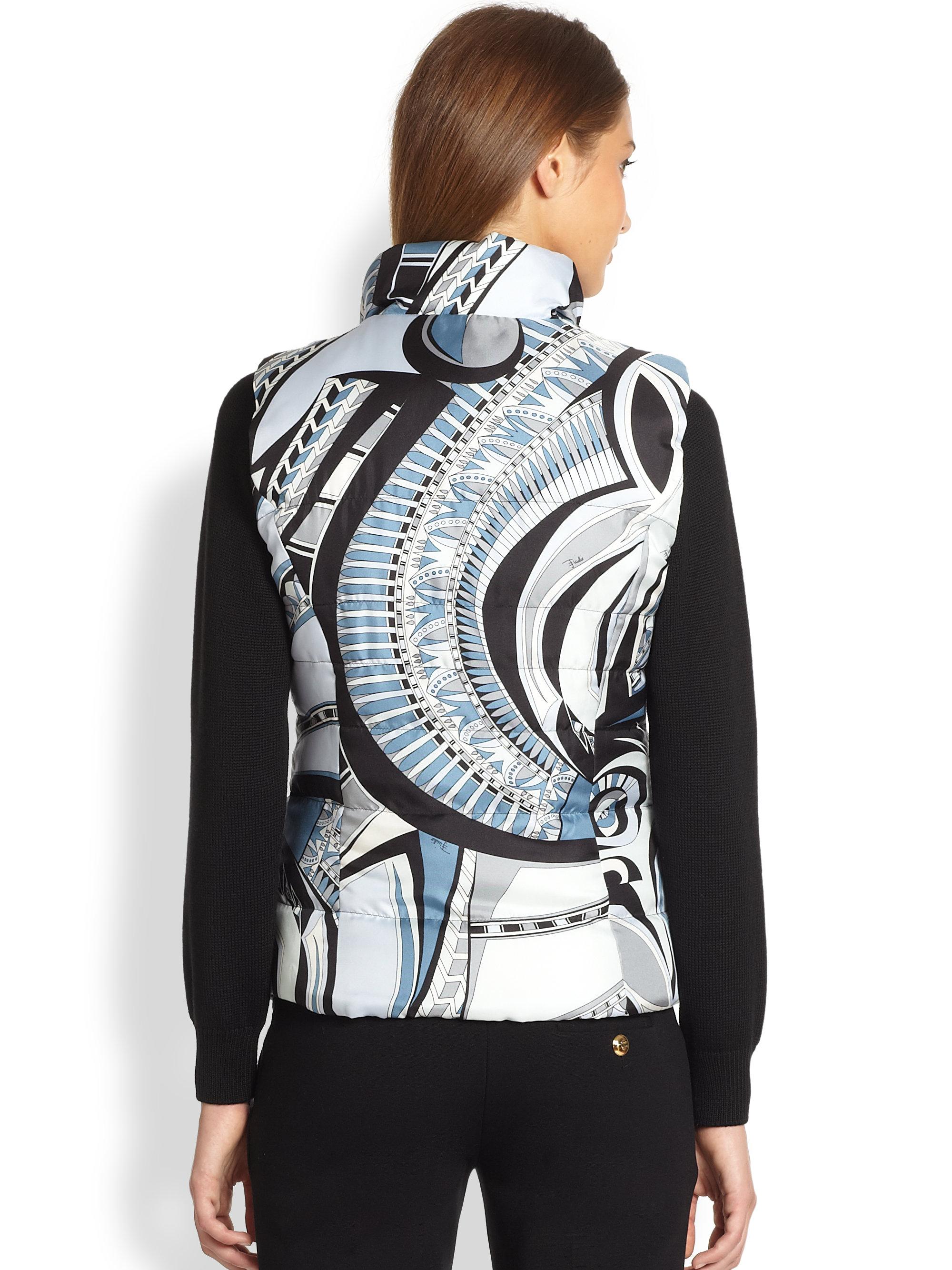 Emilio Pucci Reversible Silk Puffer Vest In Pale Blue
