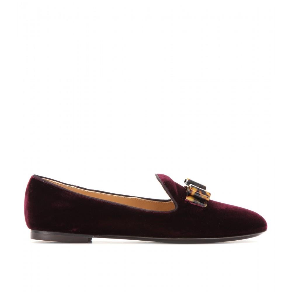 c2a980b5226 Lyst - Ferragamo Scotty Velvet Slipper style Loafers in Purple