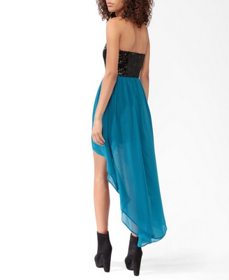 lyst forever 21 highlow sequined dress in blue