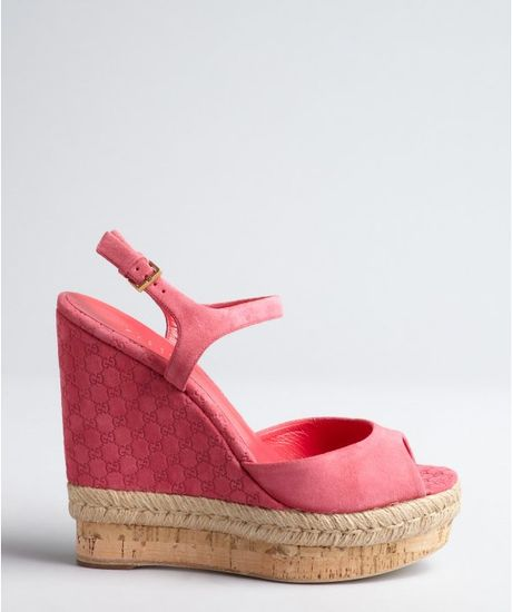 gucci pink guccissima suede and cork wedge sandals in pink