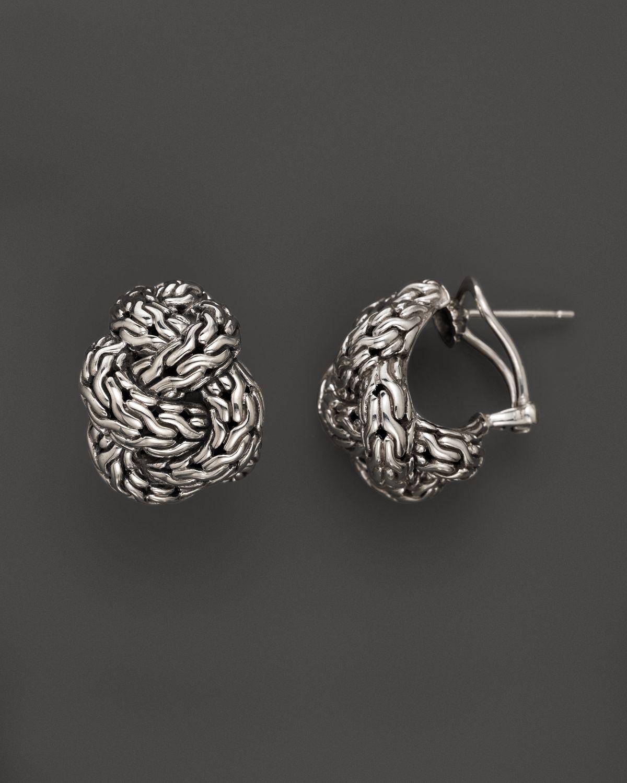John hardy classic chain silver knot buddha belly earrings for John hardy jewelry earrings