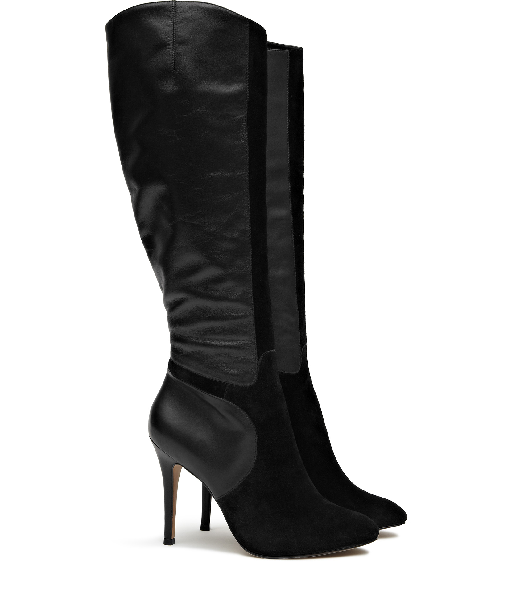 Reiss Rosanna Suede And Leather Knee High Boots In Black