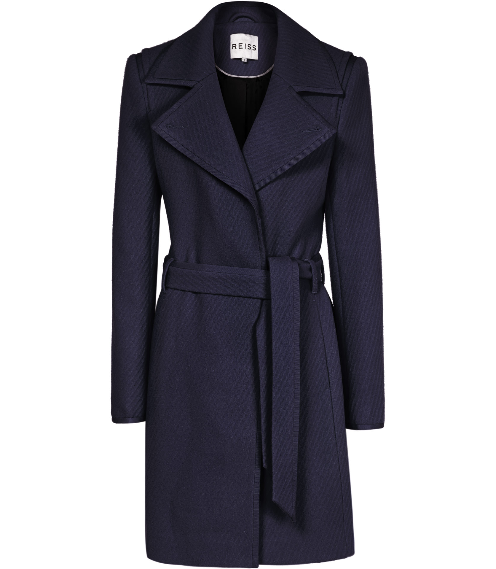 Lyst Reiss Lavina Textured Fit And Flare Coat In Blue