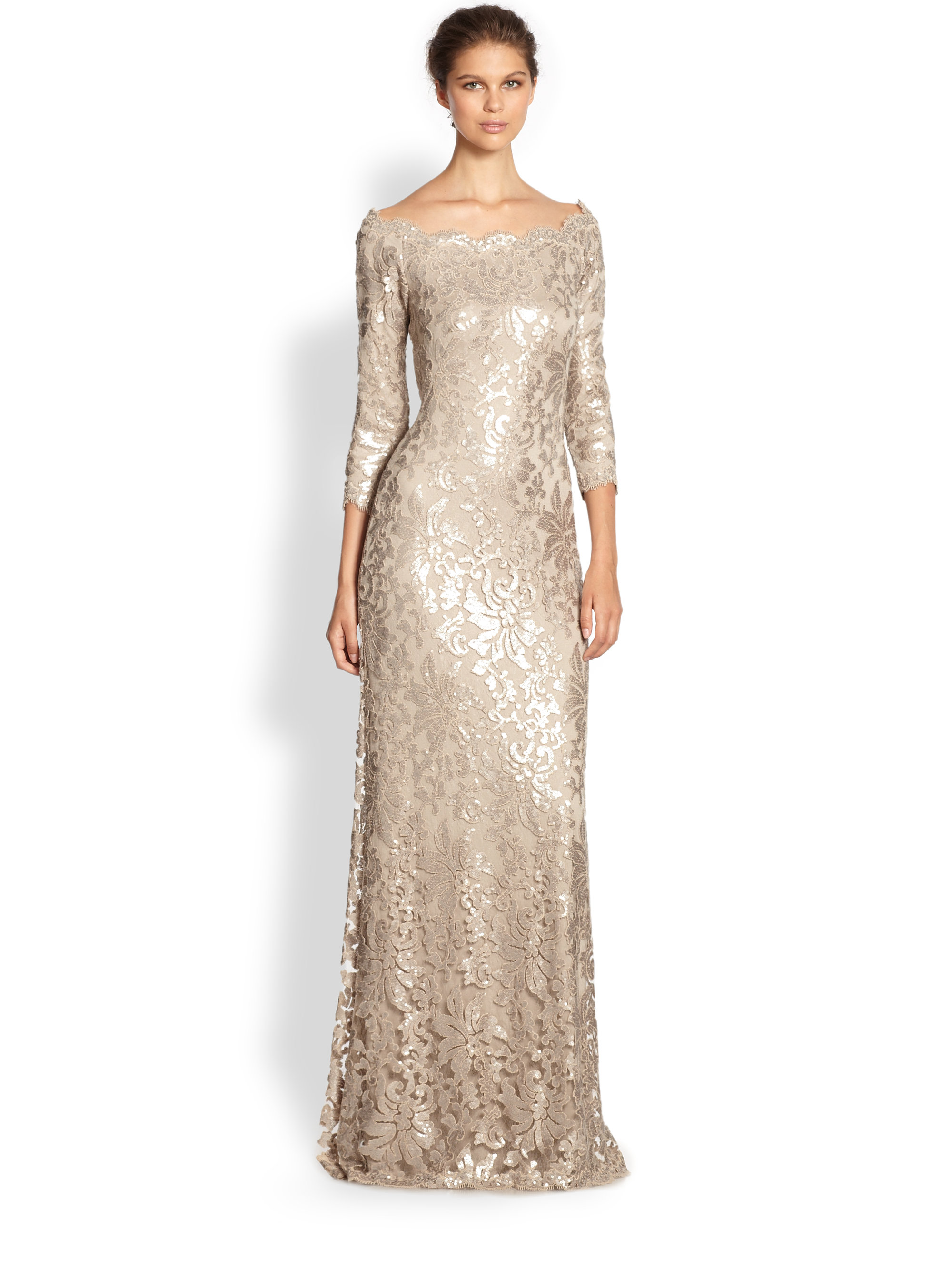 Lyst - Tadashi Shoji Sequined Lace Boatneck Gown in Metallic