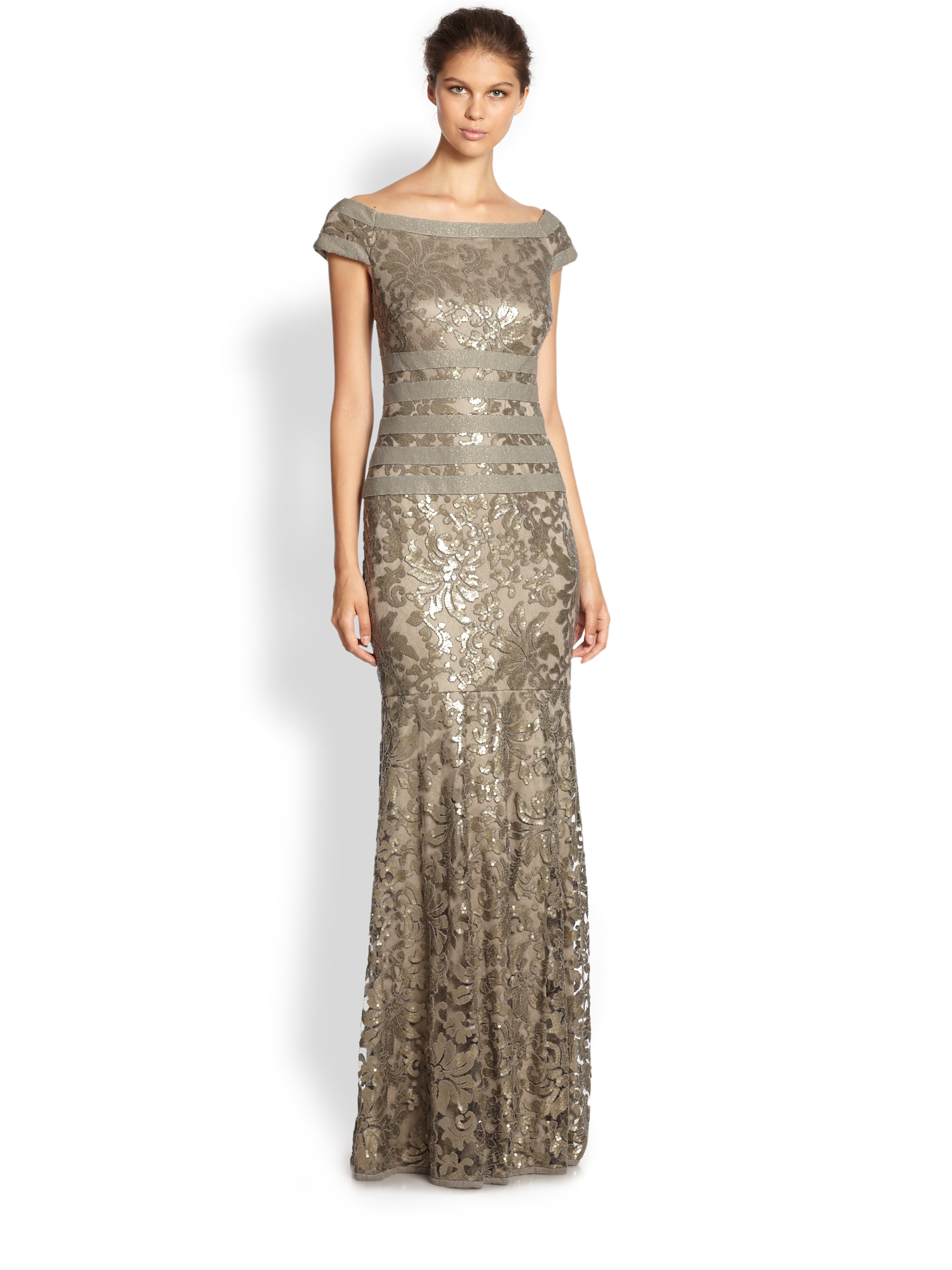 Lyst - Tadashi shoji Sequined Lace Gown in Gray
