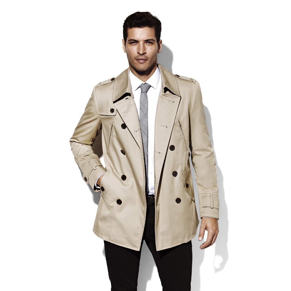 Vince Camuto Double Breasted Trench Coat In Khaki Natural