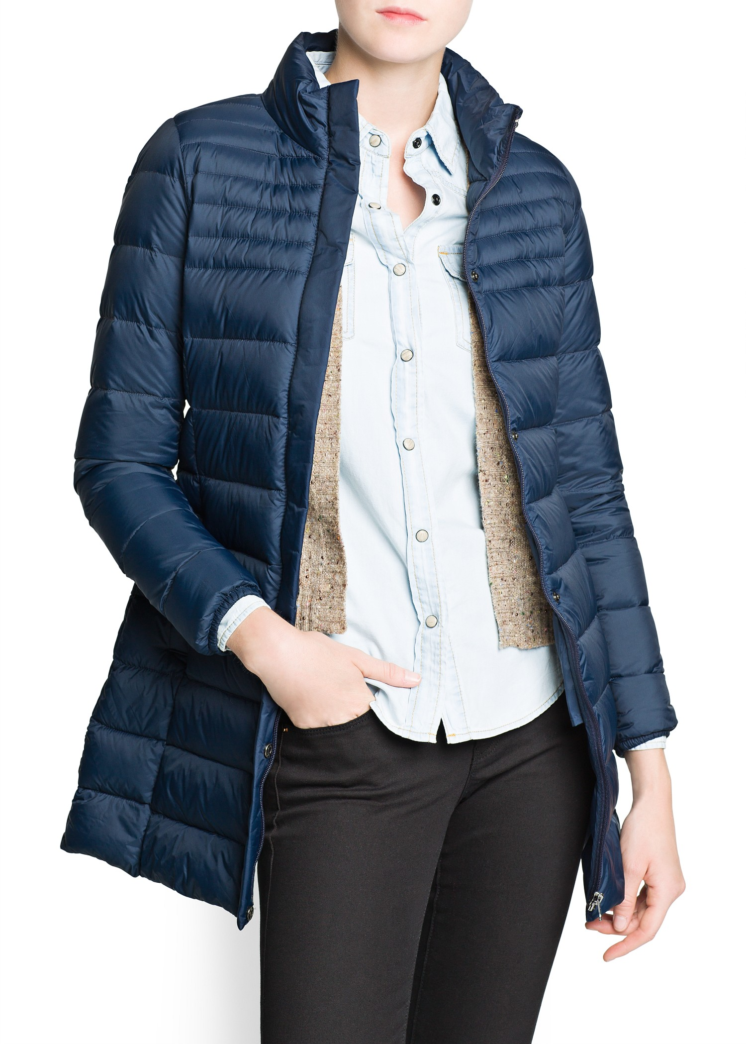 Mango Foldable Down Feather Long Coat in Blue   Lyst
