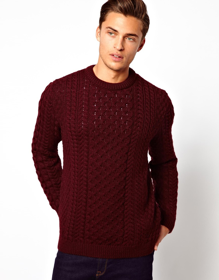 Lyst asos asos cable sweater in 100 british wool in red for Mens red wool shirt