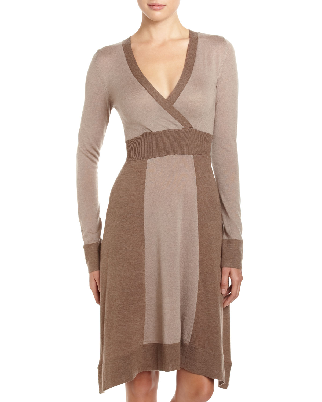 4e30468b44 Lyst - BCBGMAXAZRIA Sandra 2tone Knit Sweater Dress Gravel Large in ...
