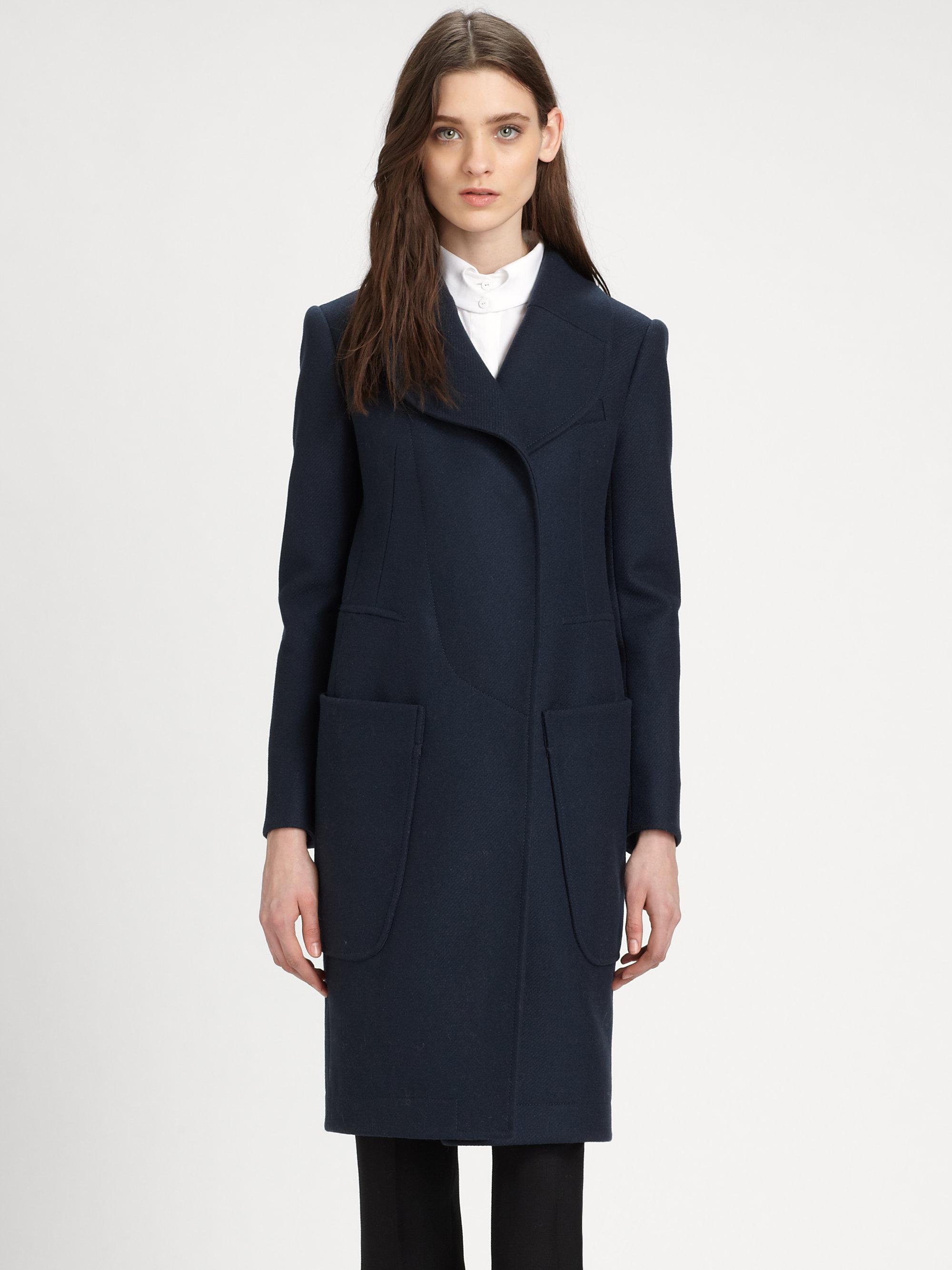 carven caban drap long textured coat lyst. Black Bedroom Furniture Sets. Home Design Ideas