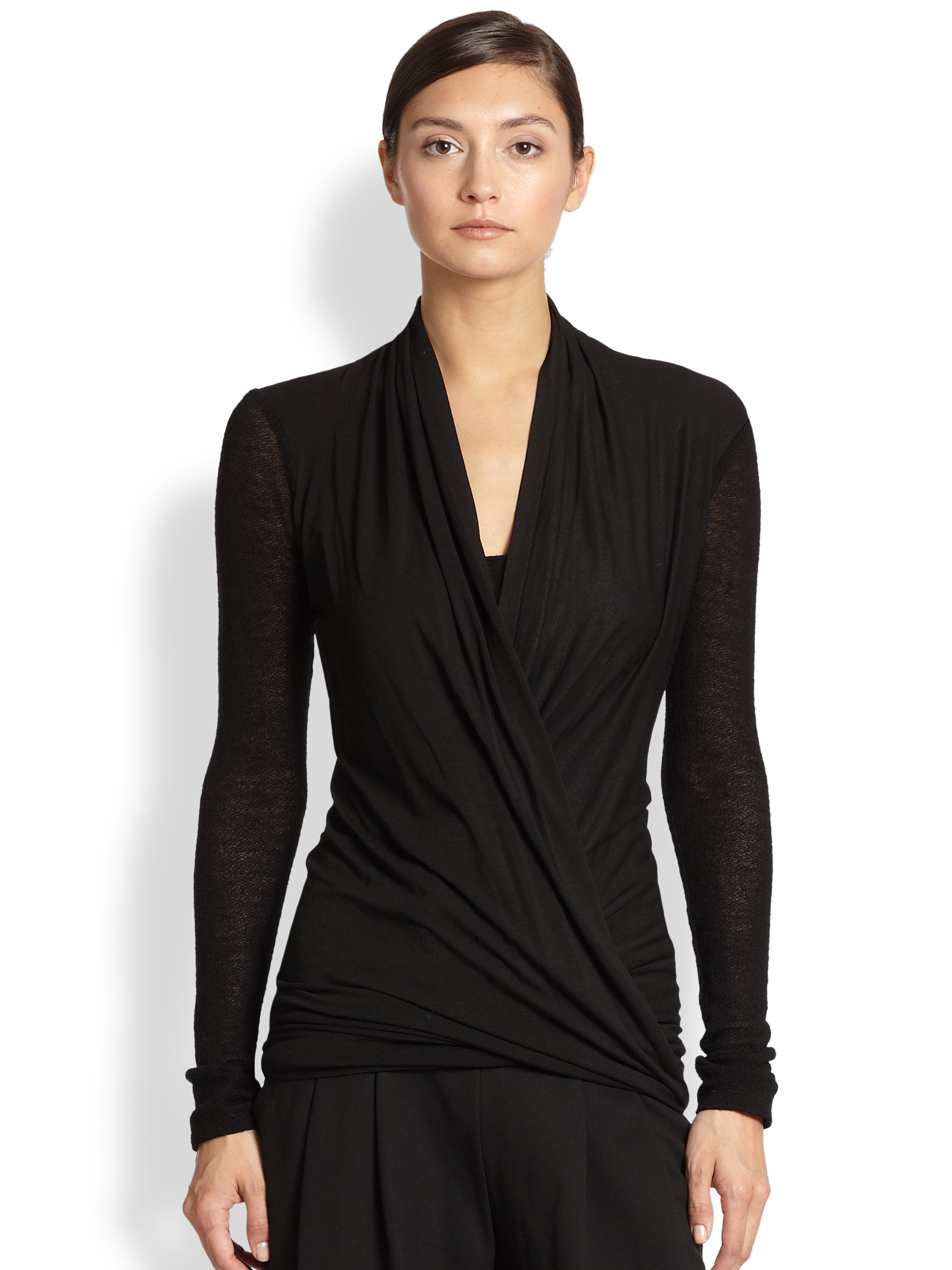 Donna karan new york double layer wool jersey tunic in for Donna karen new york