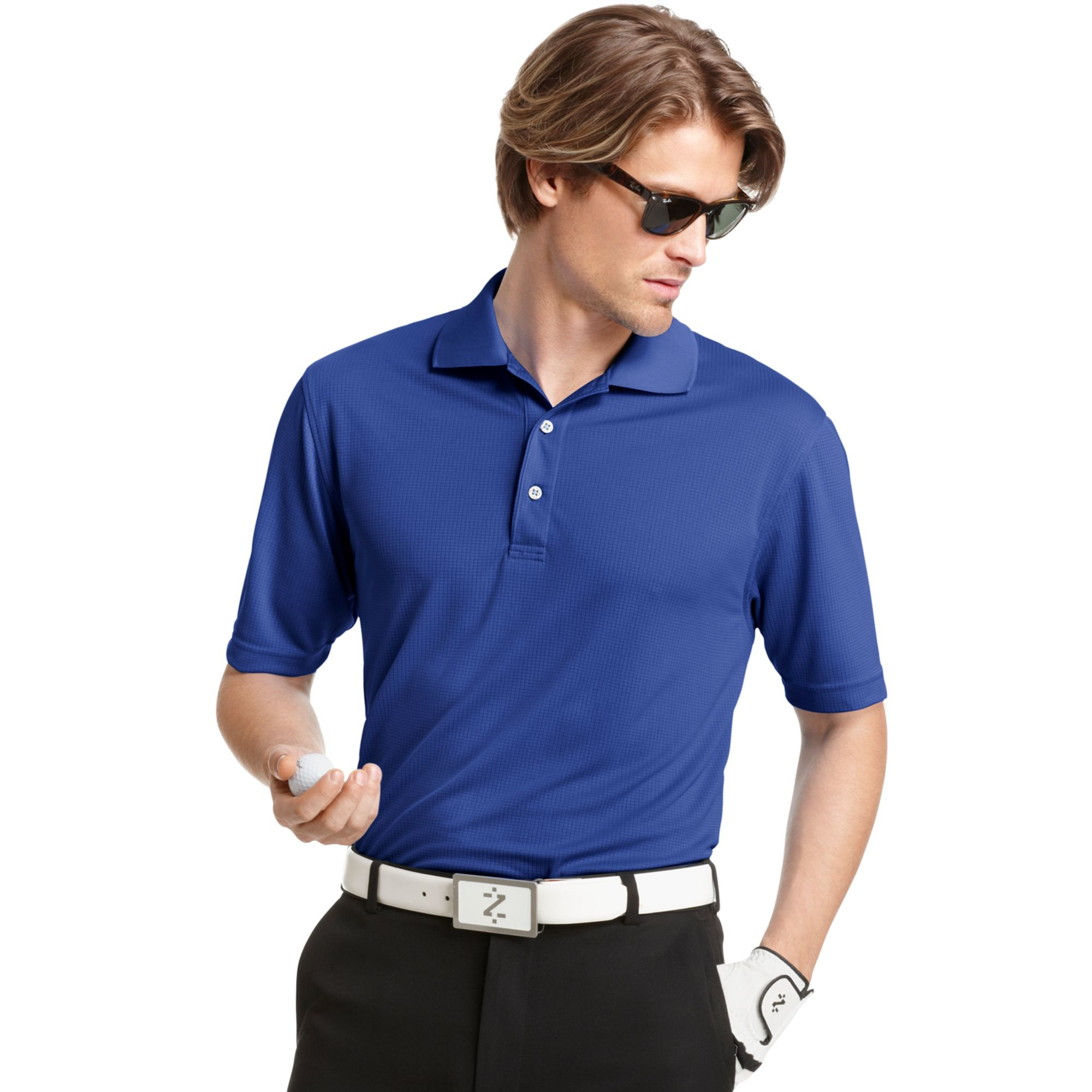 Izod performance solid grid golf polo in blue for men for Big and tall golf shirts
