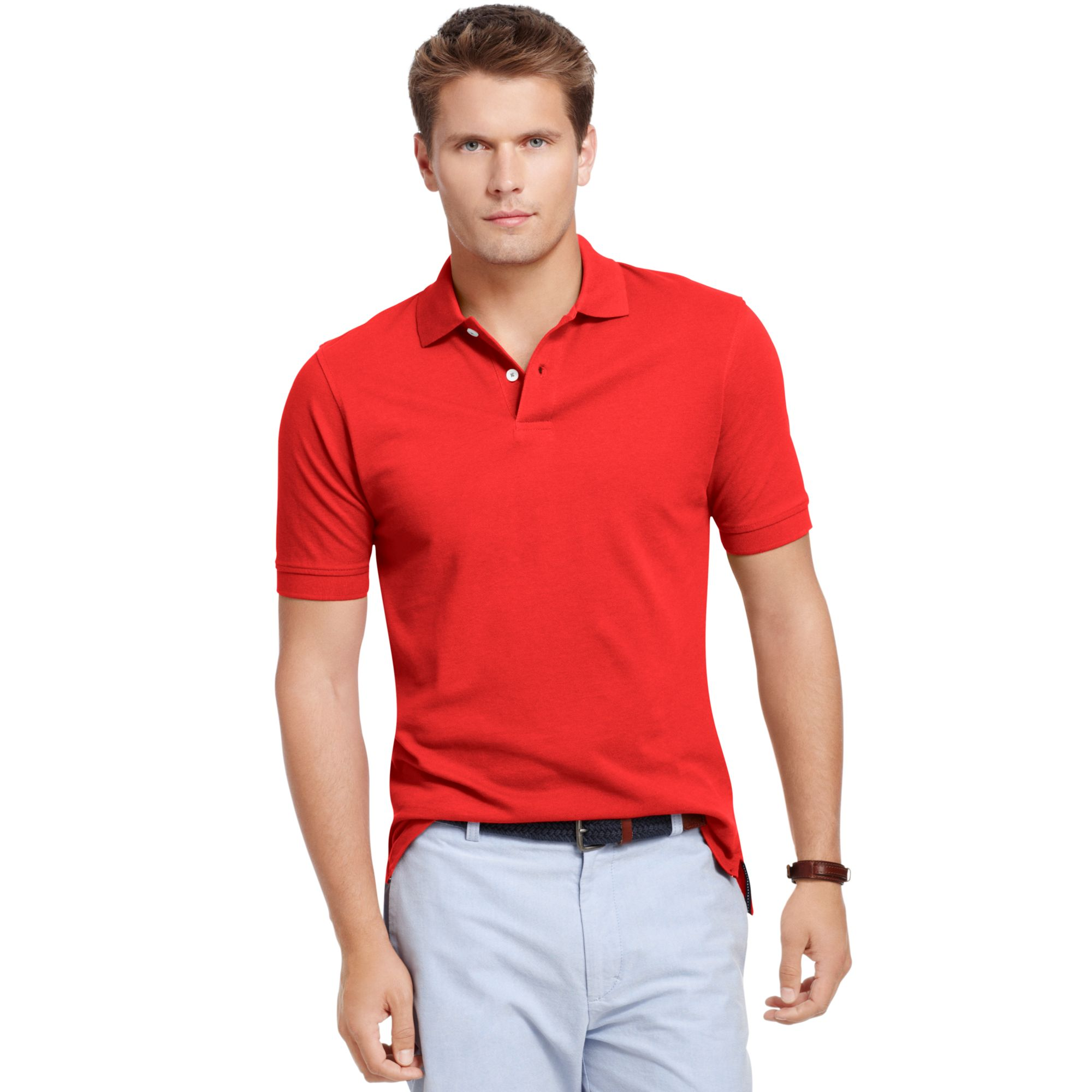 mens red collared shirt