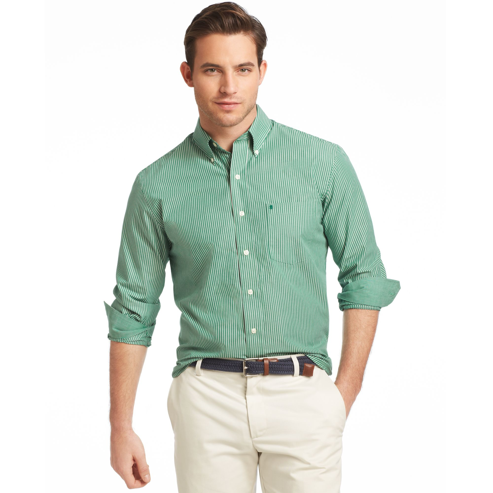 Lyst Izod Long Sleeve Essentials Striped Shirt In Green