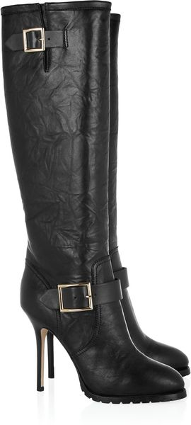Jimmy Choo Gaige Leather Knee Boots in Black