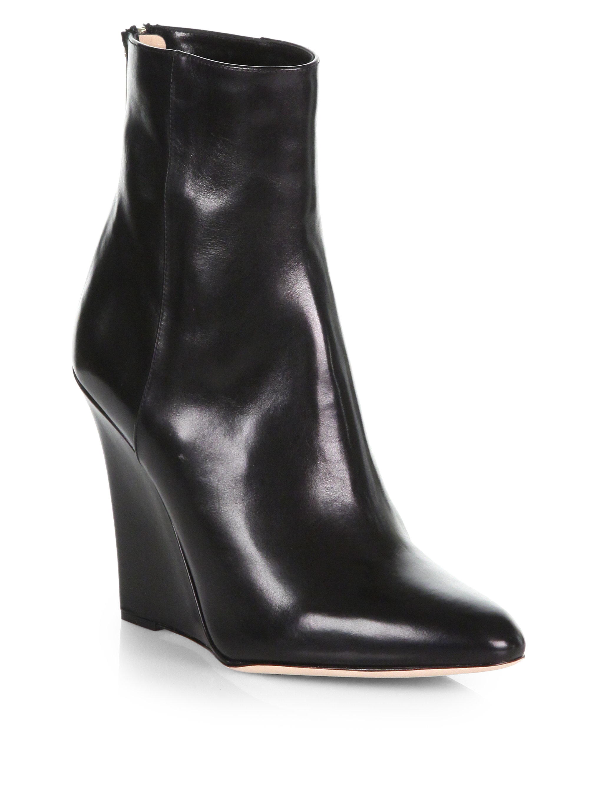jimmy choo mercury leather wedge ankle boots in black lyst