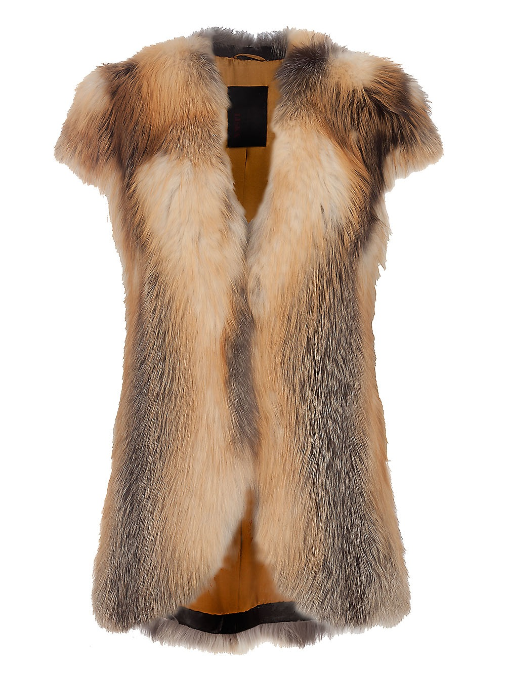 Liska Fox Fur Vest In Brown Lyst