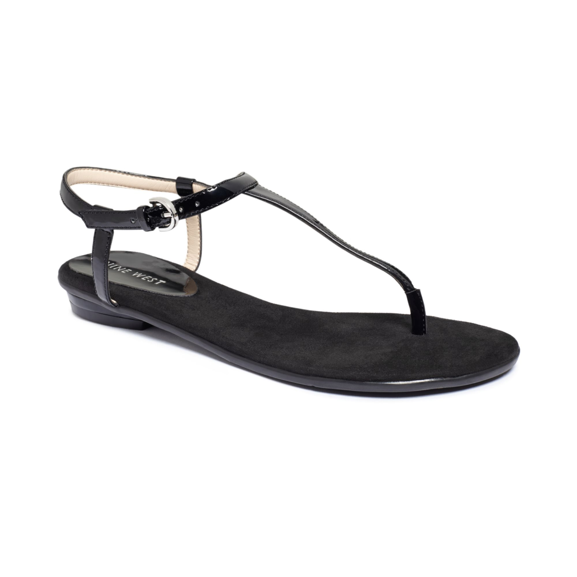 Lyst - Nine West Izzelly Flat Thong Sandals in Black