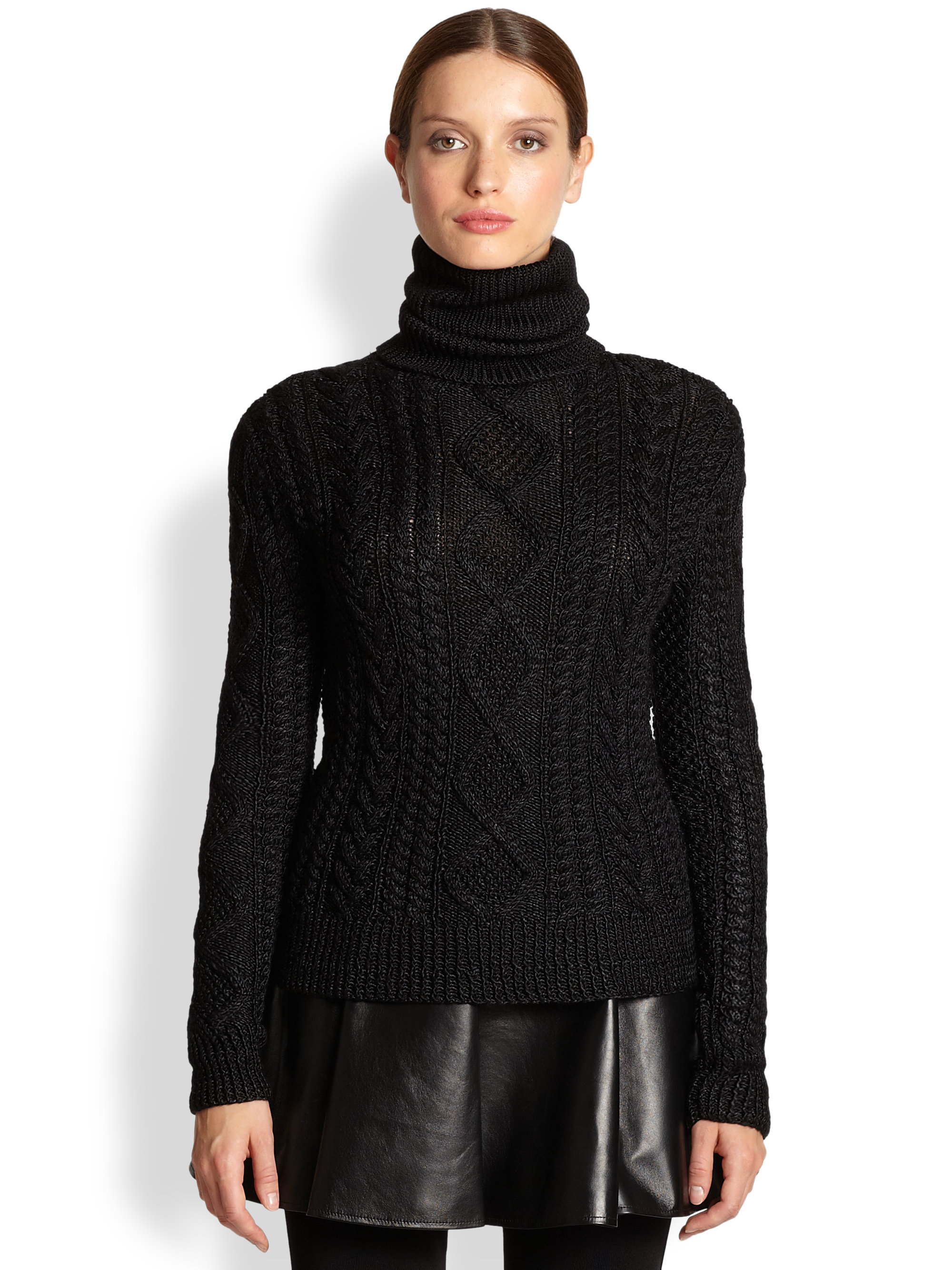 Ralph lauren collection Silk Cashmere Cableknit Turtleneck Sweater ...