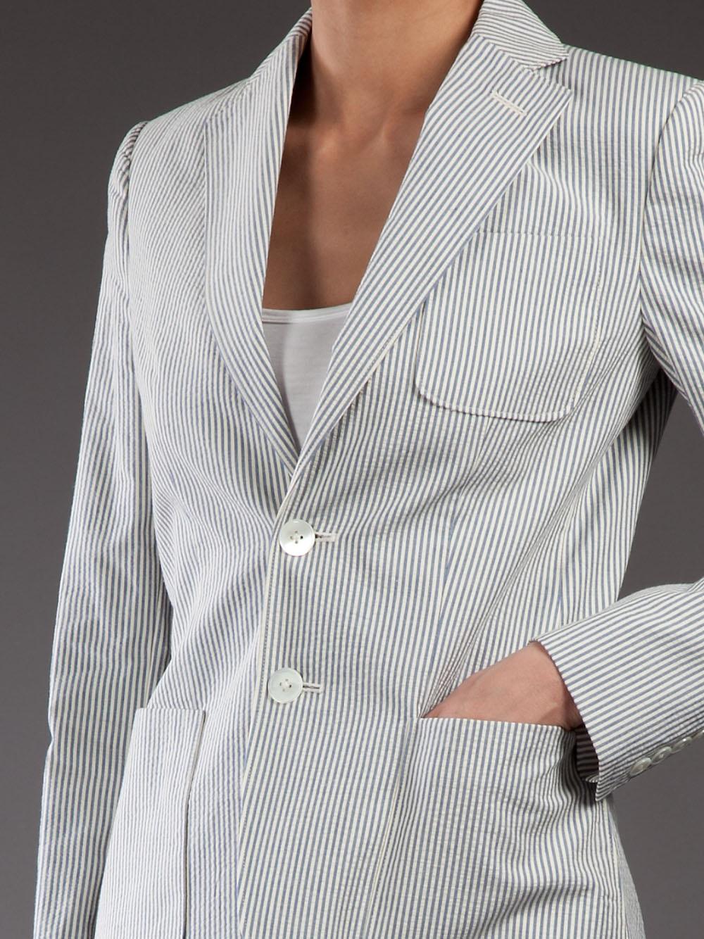 Ralph Lauren Striped Blazer In Blue Lyst