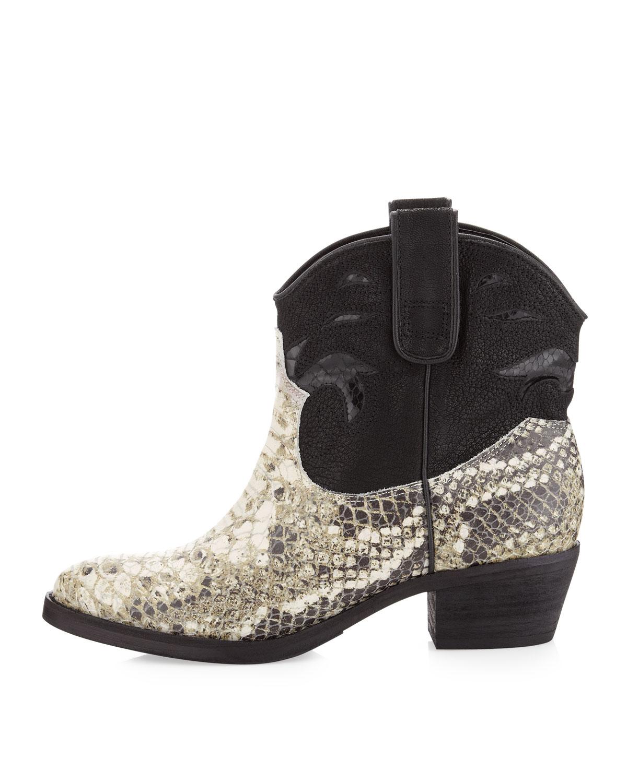 90b70f4806b5 Lyst - Sam Edelman Stevie Short Snakeprint Western Boot Roccia
