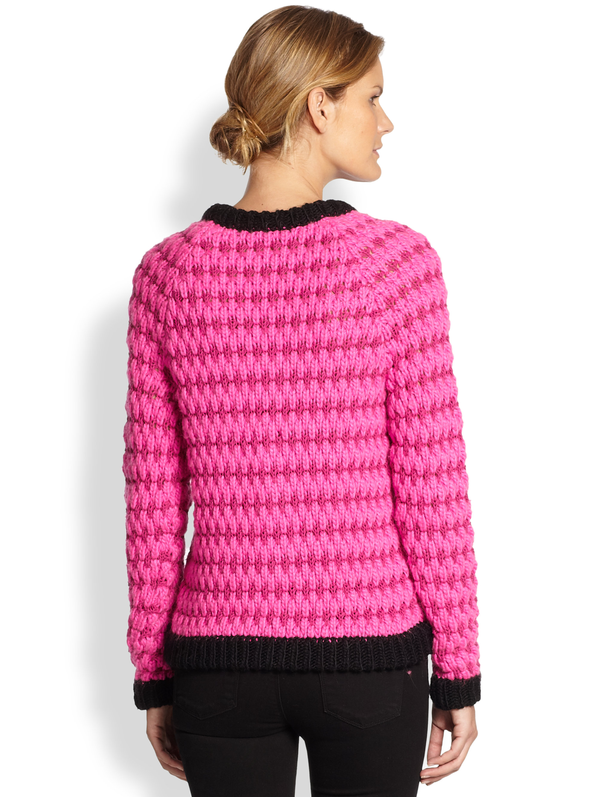 Tibi Contrast Sweater in Pink | Lyst