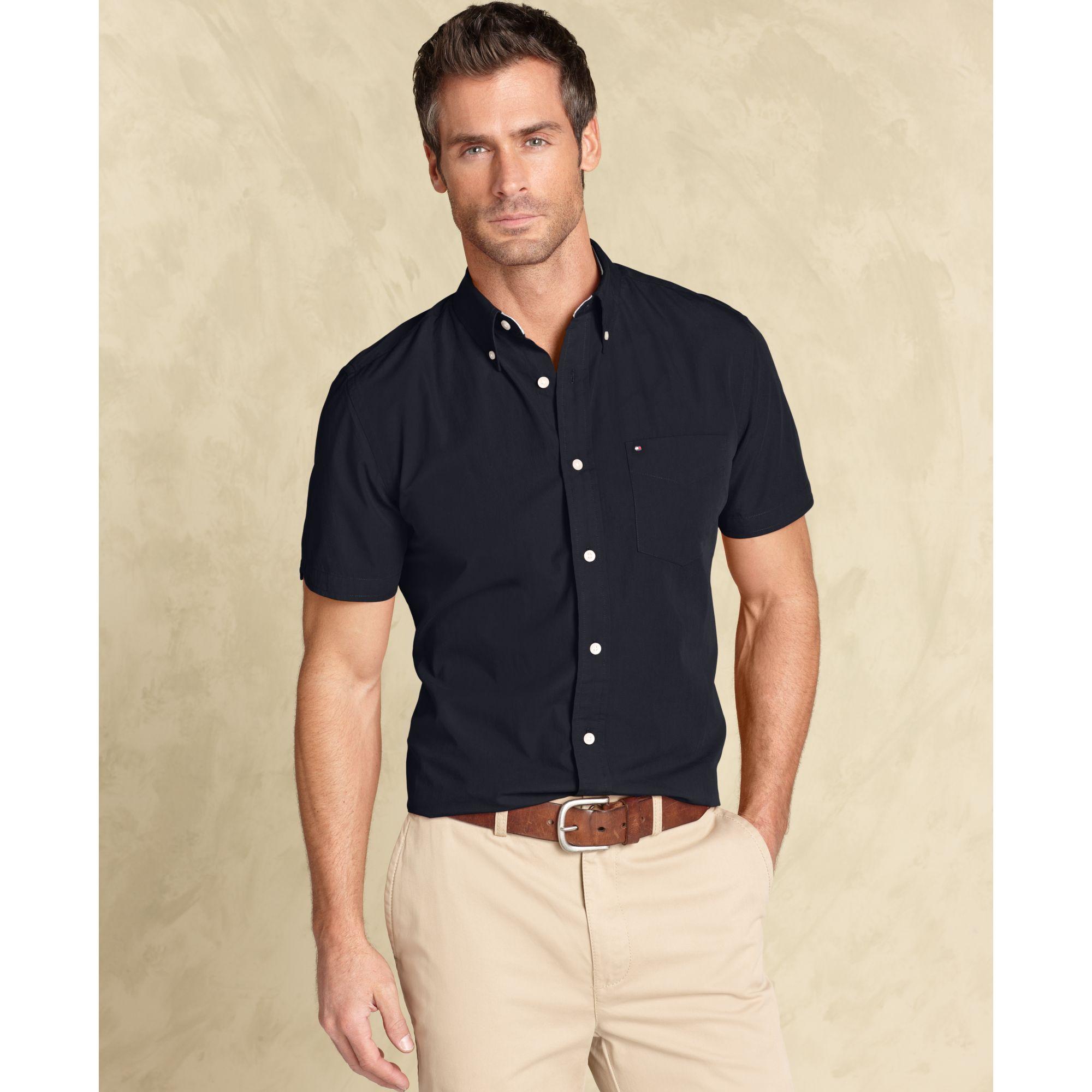 tommy hilfiger max button down slim fit in black for men. Black Bedroom Furniture Sets. Home Design Ideas