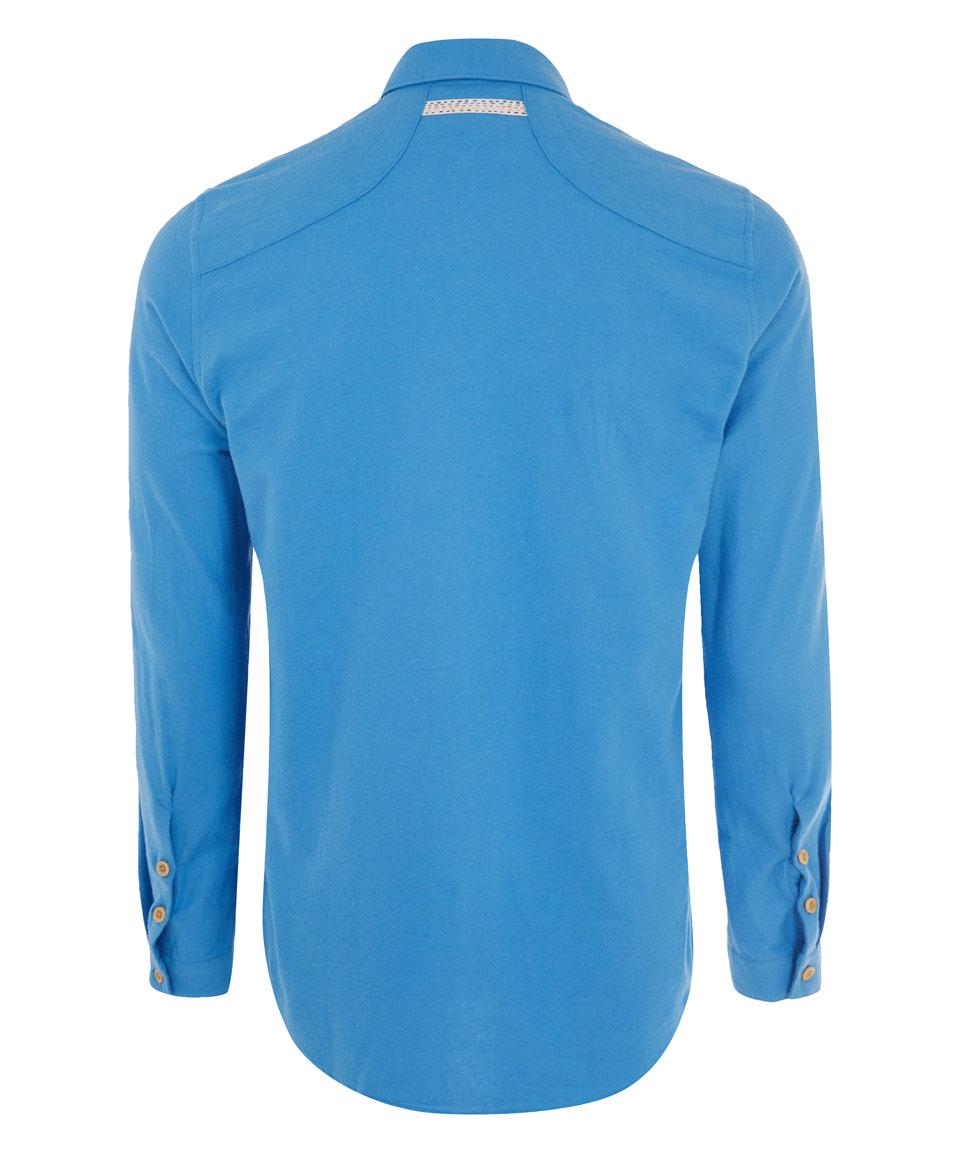 lyst folk light blue flannel shirt in blue for men