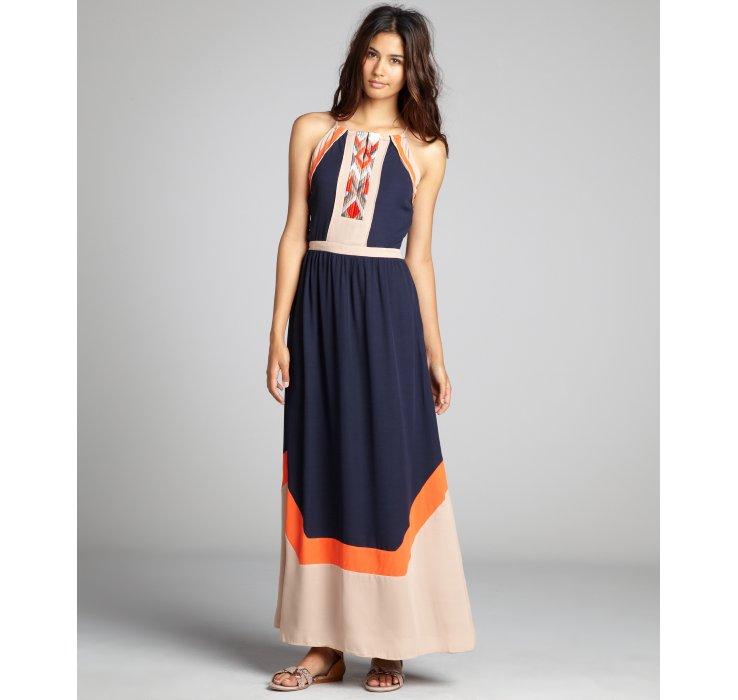 Blue orange maxi dress