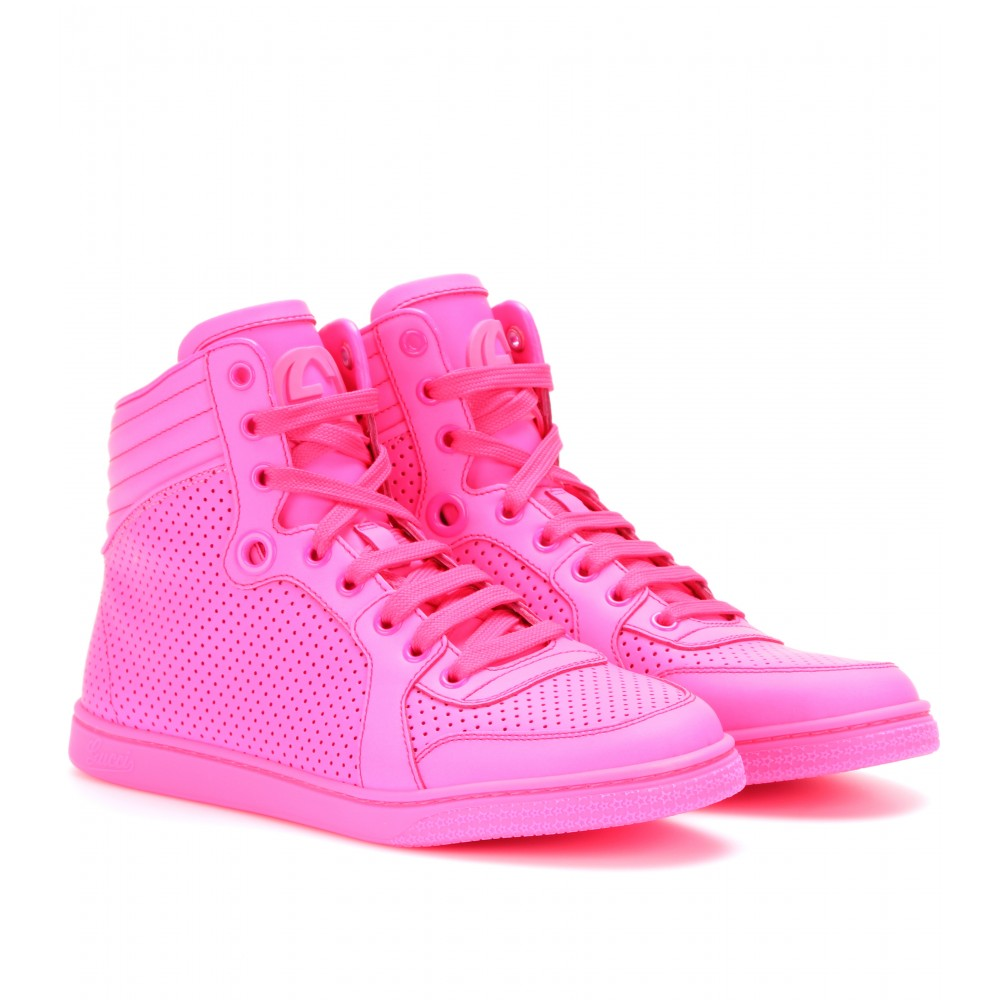 gucci hightop neon leather sneakers in pink lyst. Black Bedroom Furniture Sets. Home Design Ideas