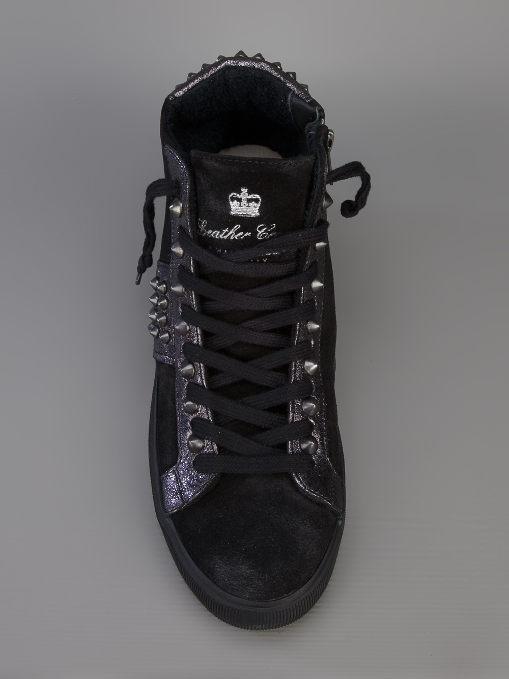 Leather Crown Hightop Trainer in Black