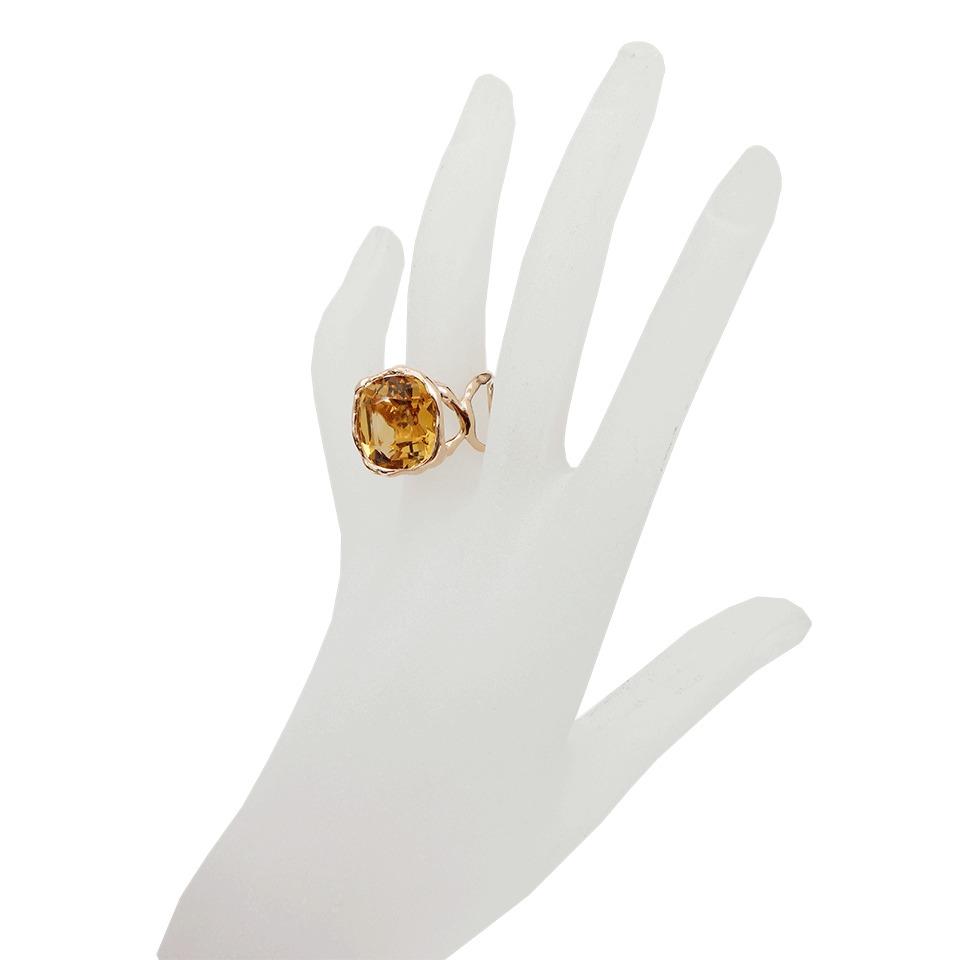 Lucifer Vir Honestus Organic Ring with Antique Cut Citrine in Metallic