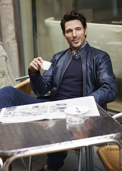 Blue Leather Jacket Jacket in Blue For Men