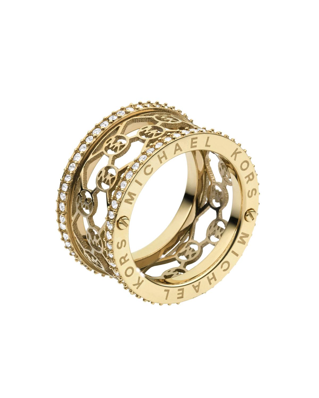 lyst michael kors monogram cut out pave ring golden in. Black Bedroom Furniture Sets. Home Design Ideas