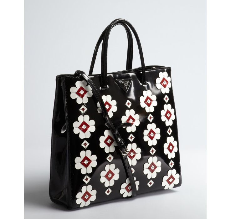 Prada Black Spazzolato Floral Applique Convertible Tote in Black ...