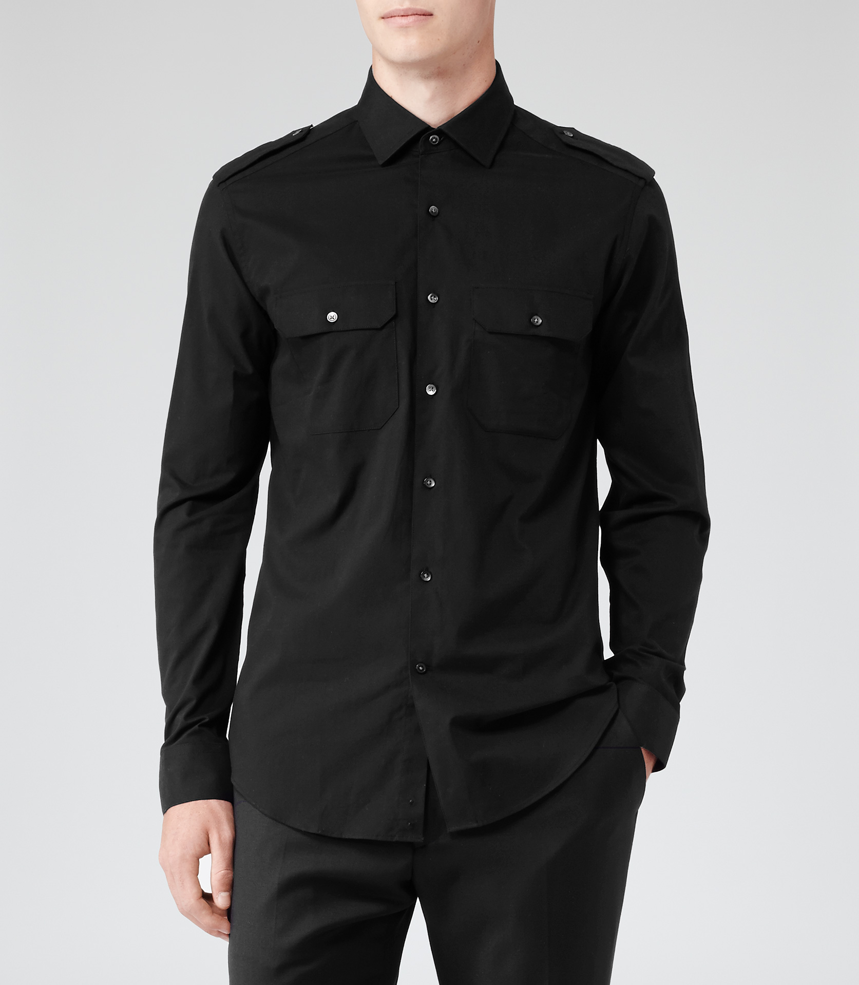Lyst - Reiss Dynamite Military Shirt in Black for Men