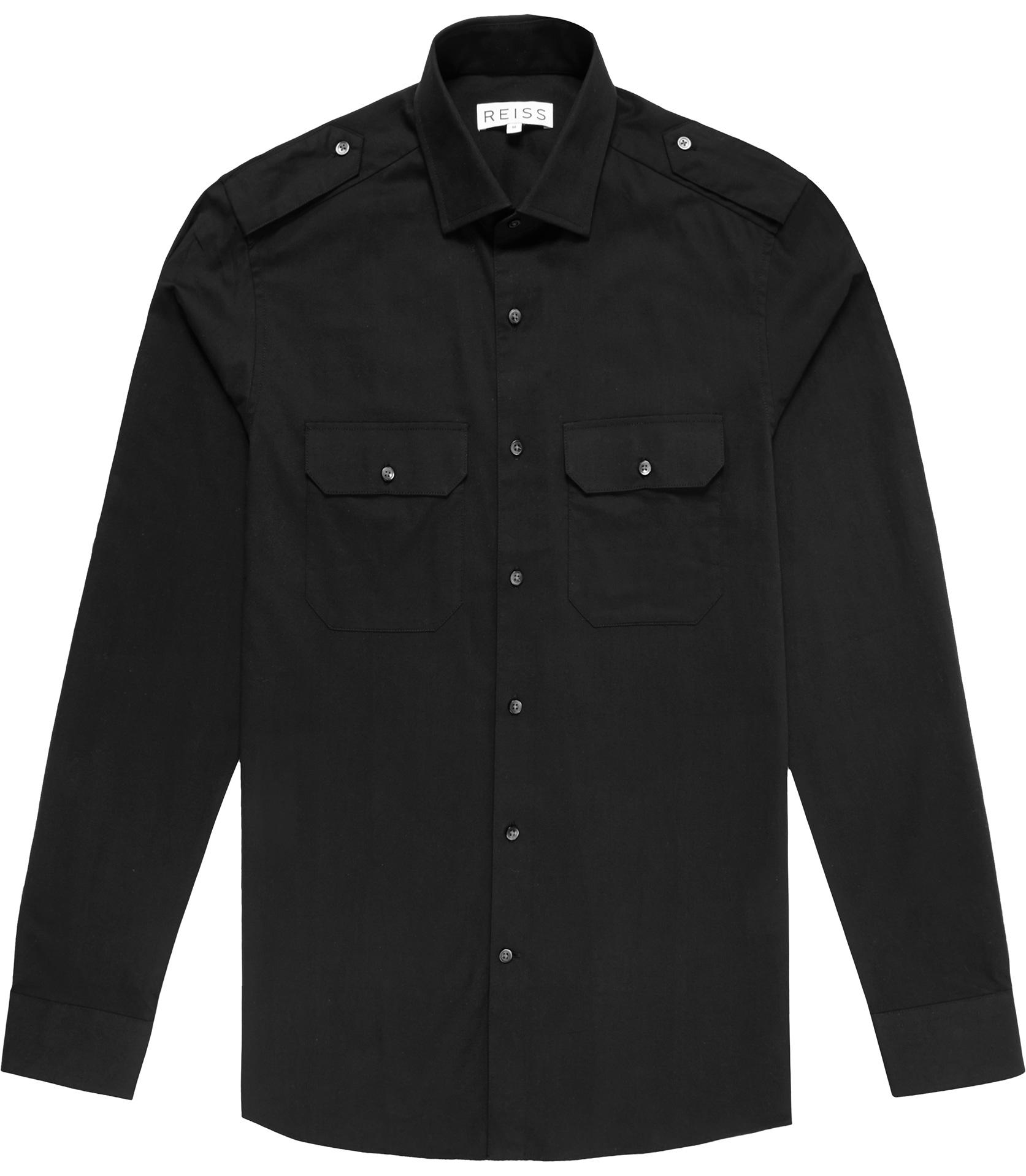Reiss Dynamite Military Shirt in Black for Men | Lyst